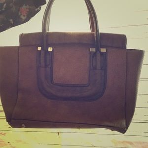 Handbags - Brown suede bag with gold detail